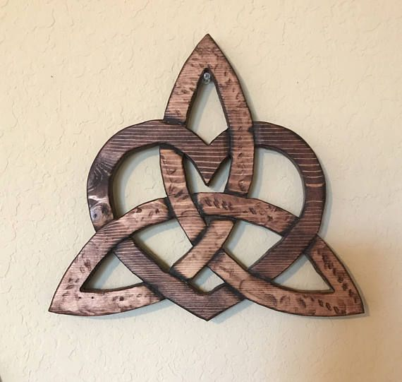 Wooden Celtic Knot Heart Within A Trinity Trinity Love Knot Celtic Home Decor Irish Home Decor Scottish Home Decor