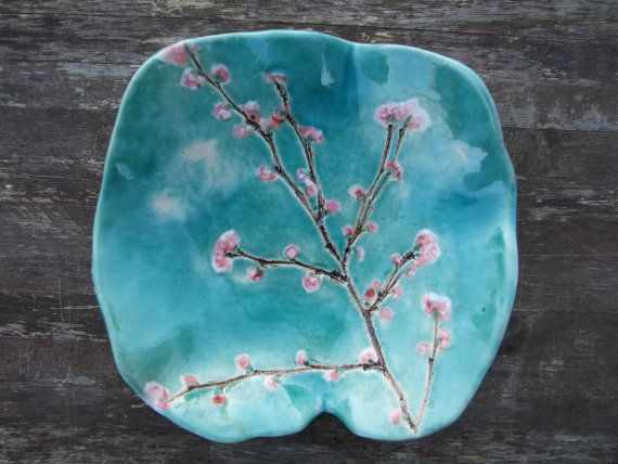 Cherry blossom ceramic bowl, turquoise pink Sakura, Made to order. £30.00, via Etsy.