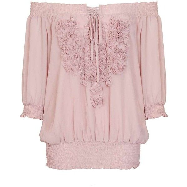 Dorothy Perkins *Quiz Pink Chiffon Applique Bardot Top ($45) ❤ liked on Polyvore featuring tops, pink, cream top, dorothy perkins, cream chiffon top, 3/4 sleeve tops and chiffon tops