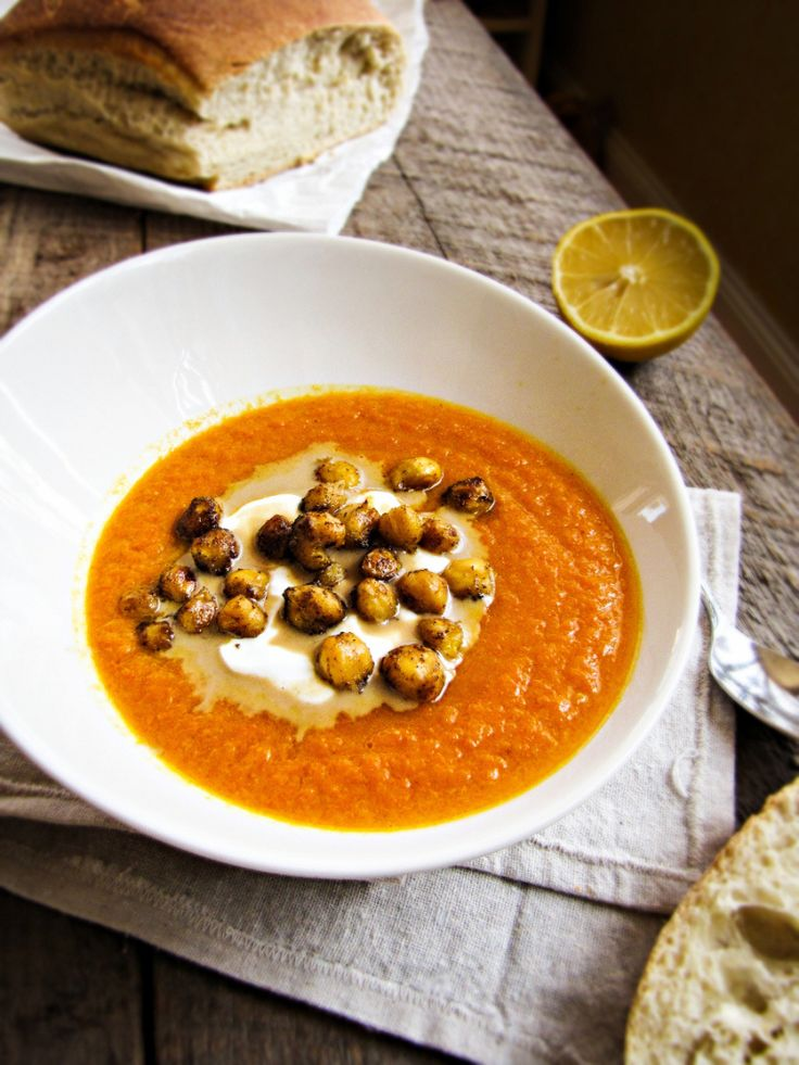 Roasted Carrot and Tahini Soup with Spiced Chickpeas