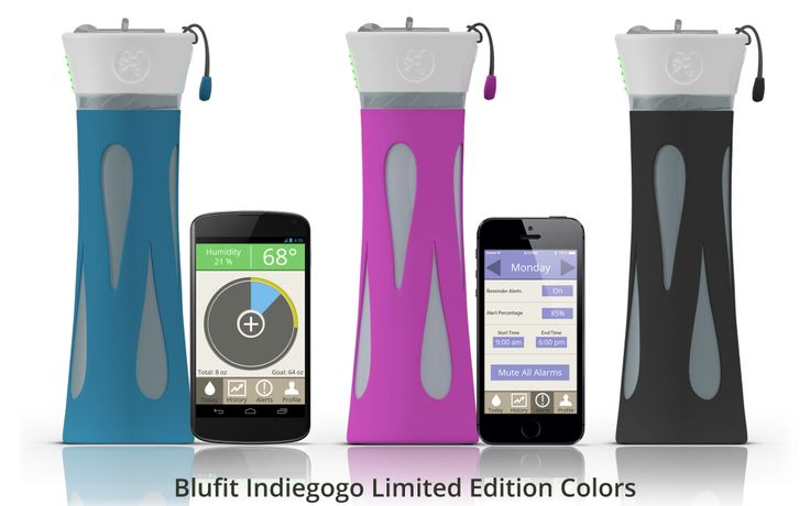BluFit Bottle | Indiegogo: This bottle comes packed with a variety of sensors that track your water intake — and let you know when you need to take another sip.