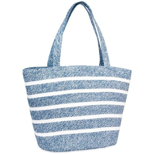Magid Stripe Straw Tote ($35) ❤ liked on Polyvore featuring bags, handbags, tote bags, denim, woven tote, stripe tote, striped tote bag, blue tote bag and stripe tote bag