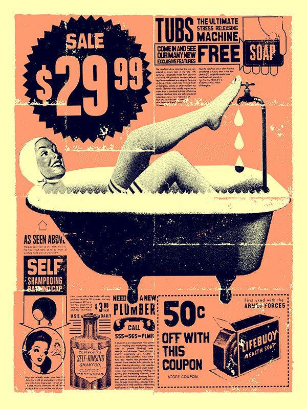 """Vintage Bathroom Art print 12"""" x 16"""" Folleto publicitario de baños Vintage"""
