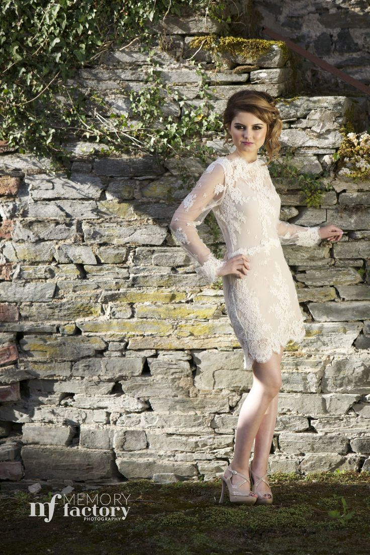 """""""Amiee"""" cleverly combines three looks in one.  This Ivory guipure lace dress with a skin coloured under slip, boat neckline and long sleeves has a detachable tulle guipure lace train. For dramatic effect take the train off to reveal an elegant fishtail skirt or remove the bottom skirt to create a lovely short lace dress. www.jendoherty.com/ #couture #bridal #wedding"""