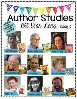 Author Studies All Year Long-Pack 2Back by POPULAR demand! 9 authors + 1 BONUS Shel Silverstein studyThis pack includes:  Black or white version for your preferenceLabels for all 10 authorsIdeas for displaying each authorHigh quality graphics if you prefer to project using a projectorEach author study includes:3 slides-An author pictures slide, biography/fun facts slide, & a published books slideAuthors in this pack include:1.Mark Teague (How Do Dinosaurs Say Goodnight?)2.Robert Munsch (The…
