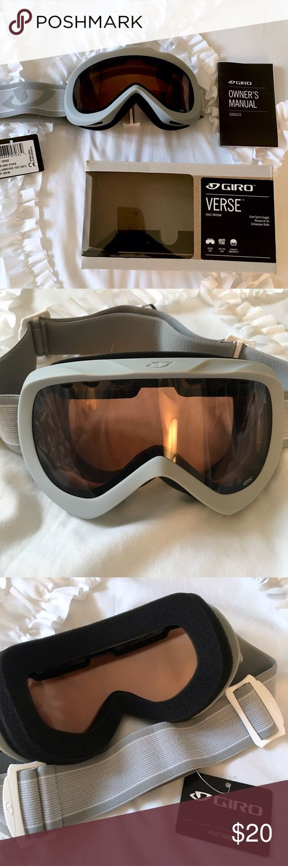 •NWT Giro Snow Sports Goggles• NWT Giro Snow Sports Goggles in Adult Medium.                             Model: VERSE                                                                               Lens: AMBER ROSE                                                                     COLOR: GREY STRIPE GIRO Other
