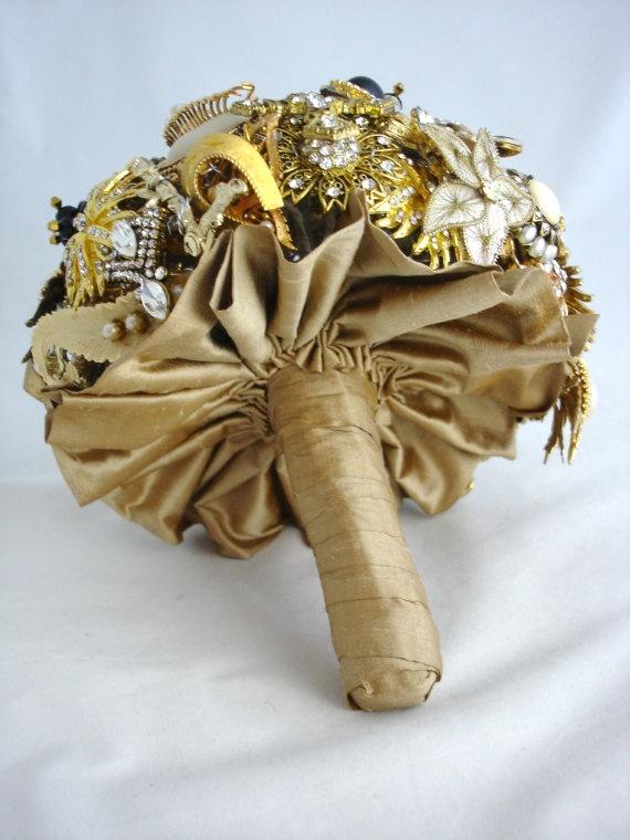 Lillybuds Decadence Gold and Black Wedding by LillybudsBouquets, $675.00