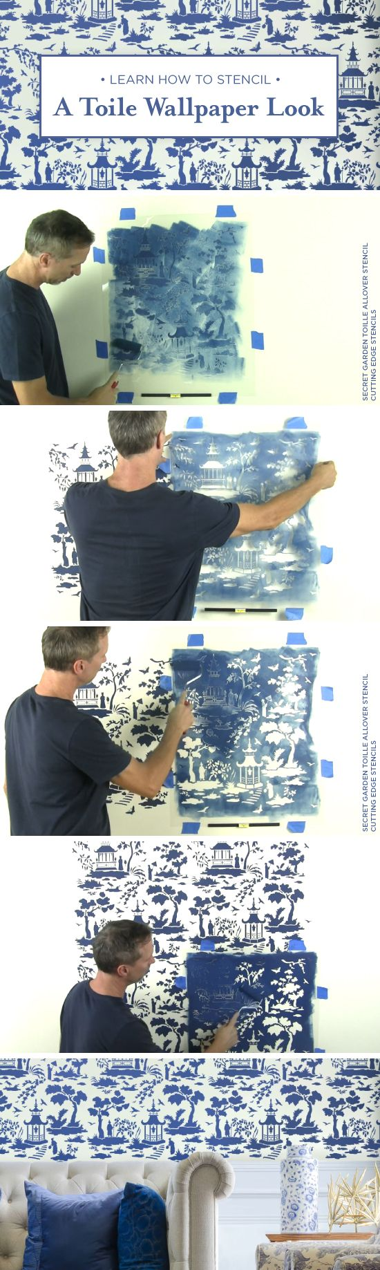 Cutting Edge Stencils shares a stencil tutorial on how to recreate a chinoiserie wallpaper look using the Secret Garden Toile wall pattern. http://www.cuttingedgestencils.com/garden-toile-stencil-chinoiserie-wallpaper.html