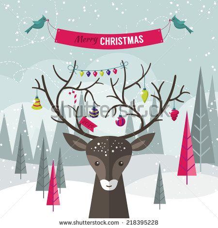Christmas holiday modern flat design with deer over forest landscape. Vector illustration - stock vector