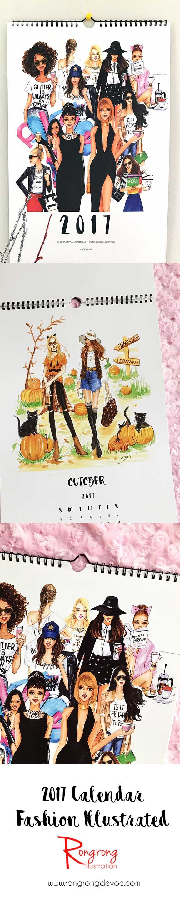 2017 Calendar,Wall Calender,Fashion Illustration,Fashion illustration Calendar,Fashion Calendar,Fashion art,Fashion wall art,Fashion poster
