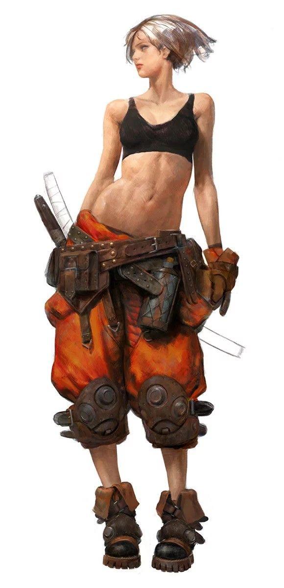 casual scifi samurai girl