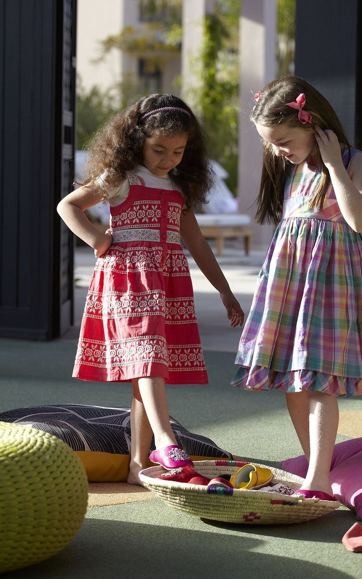 Girls love their Moroccan babouches at the Kids Club