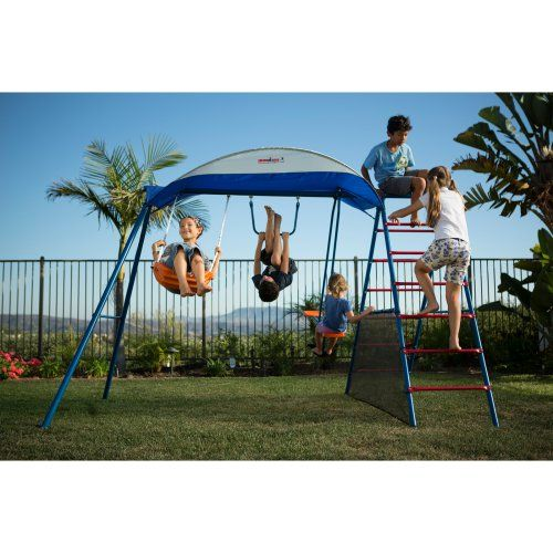 Ironkids Inspiration 100 Metal Swing Set with Ladder Climber & UV Protective Sunshade - Swing Sets at Hayneedle