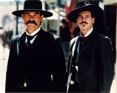 Tombstone - Kurt Russell as Wyatt Earp and Val Kilmer as Doc Holiday, love these actors.