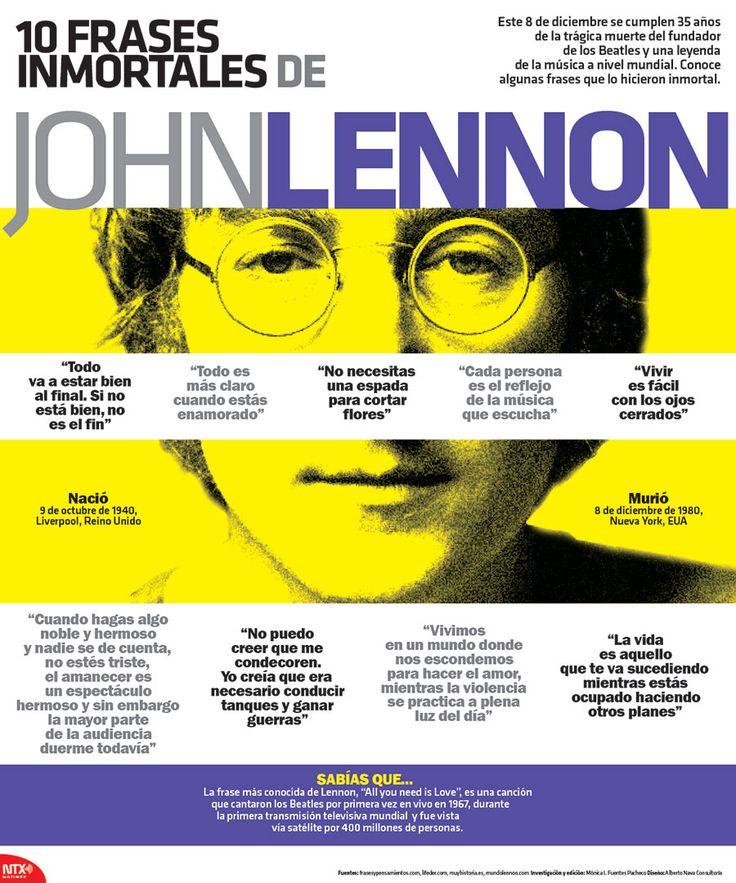 #HoyRecordamos al fundador de los Beatles, John Lennon, a 35 años de su muerte. #Infographic