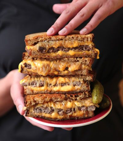 Patty Melt Recipe, A griddled sandwich of ground beef, caramelized onions, cheese, and rye bread. My husband would love this!!