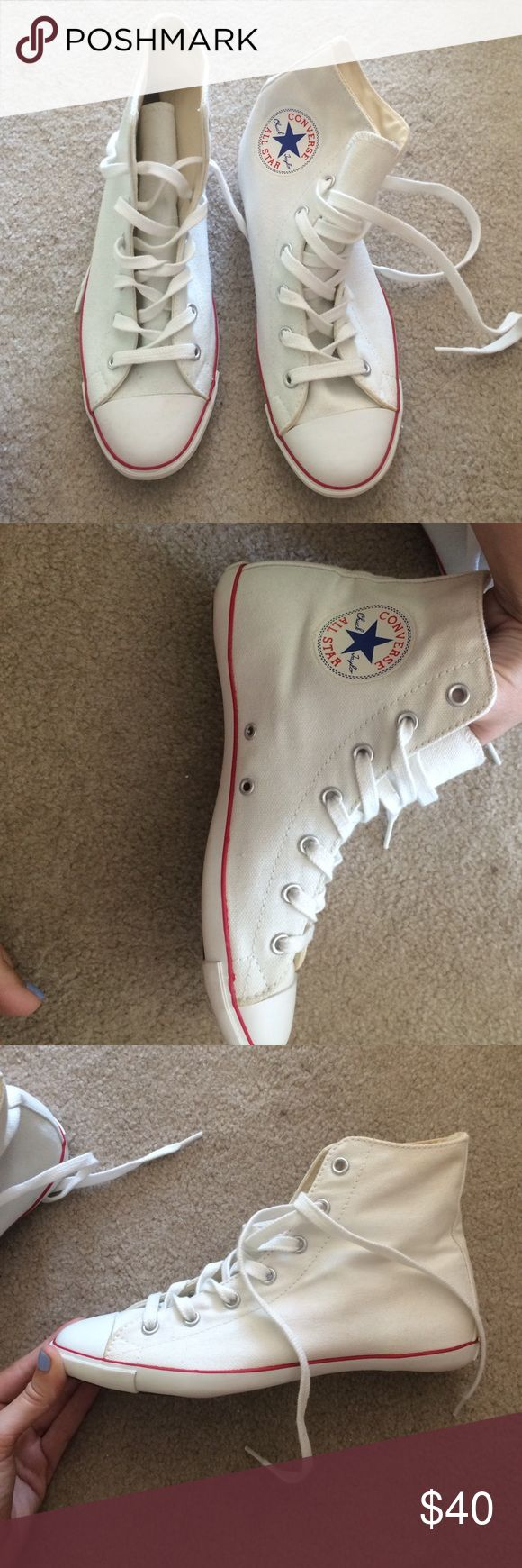 White Hi-top Converse Slim Sole Never worn Converse Shoes Sneakers