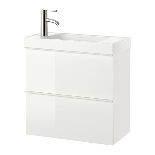 GODMORGON / HAGAVIKEN Sink cabinet with 2 drawers, high gloss white high gloss white 23 5/8x13 3/8x25 5/8