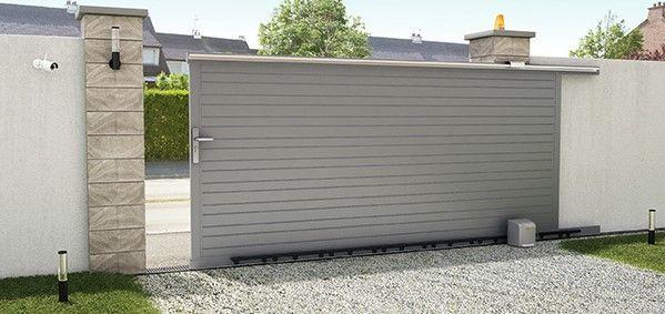 Portail en aluminium coulissant New Auteuil gris - Castorama