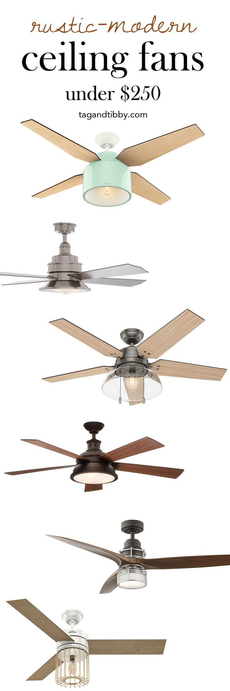 the best rustic-modern ceiling fans for under $250 | tag&tibby