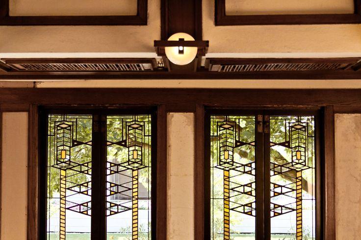 Robie House Leaded Windows And Globe Lamp Frank Lloyd