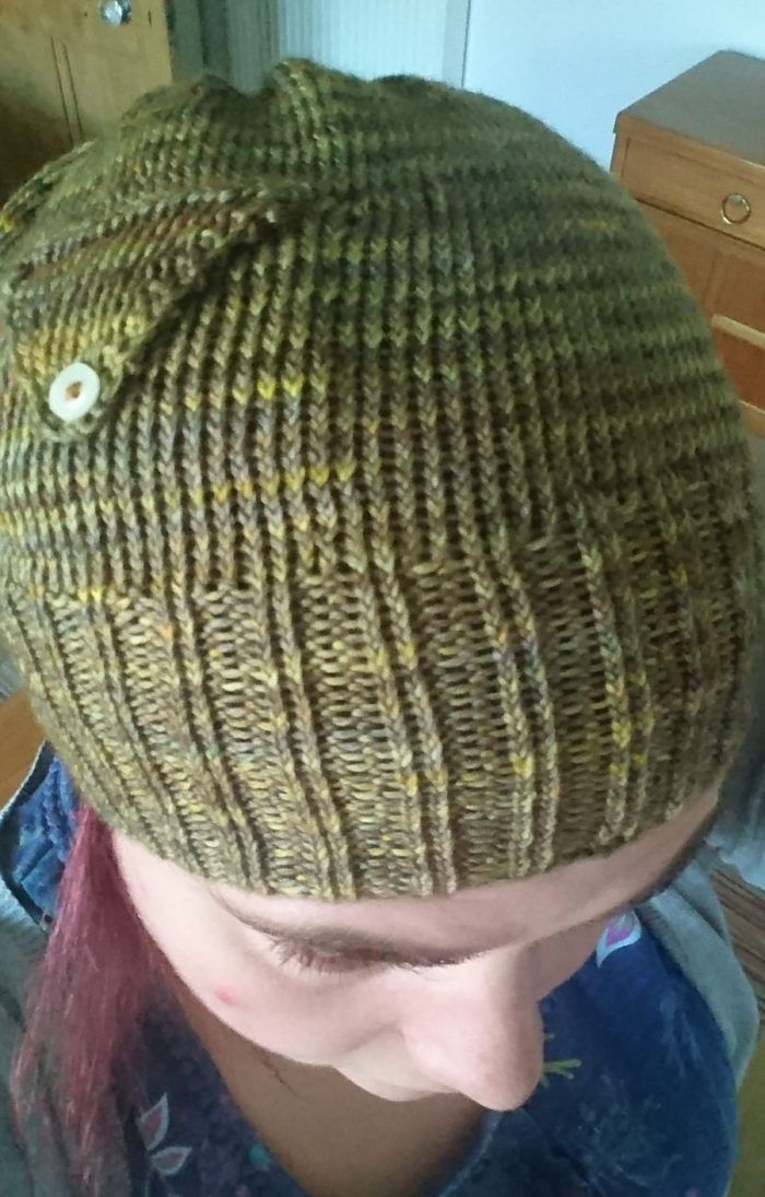 Free Knitting Pattern for Hat with Pocket - The Eggplant beanie is a rib  and stockinette hat with a pocket and flap knit separately and joined into  hat. da678737b78