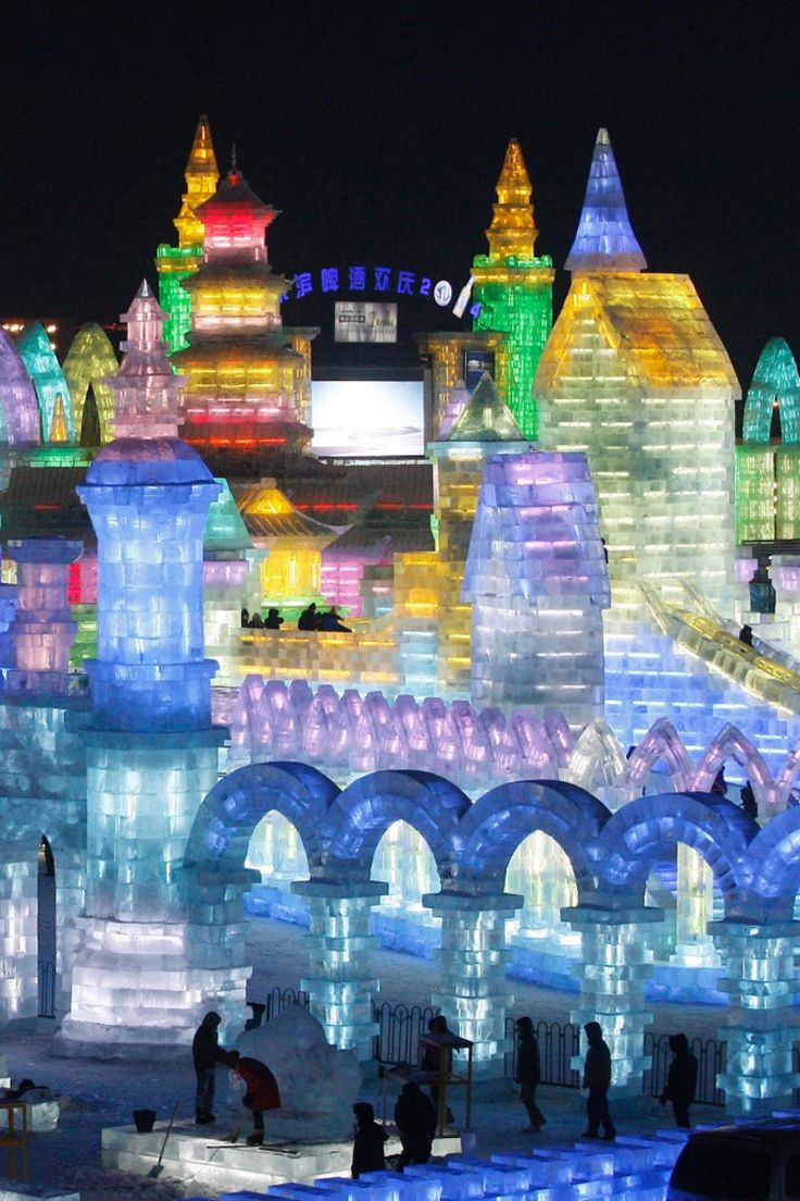 Foto delle sculture di ghiaccio all'Harbin Ice Festival n.08