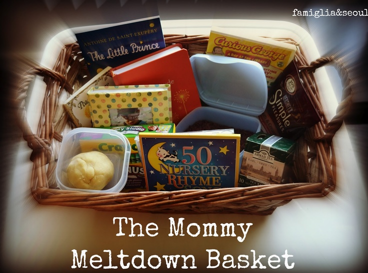 The Mommy Meltdown Basket ~ a special basket created to help your relax and reconnect with your child during a trying day. What a great idea! I'd put Star Wars action figures, Legos and tons of books in mine! Oh, and some ice cream coupons :): Gifts Baskets, Gifts Ideas, Mommy Meltdown, Sweet Gifts, Meltdown Baskets, Connection Families, Baskets Create, Great Ideas, Special Baskets