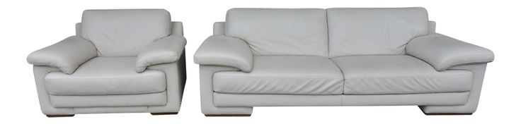 Natuzzi Off White Leather Sofa Set - Settee & Arm Chair on Chairish.com