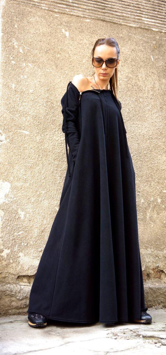 New 2016 Spring Maxi Dress / Black Kaftan Cotton by Aakasha