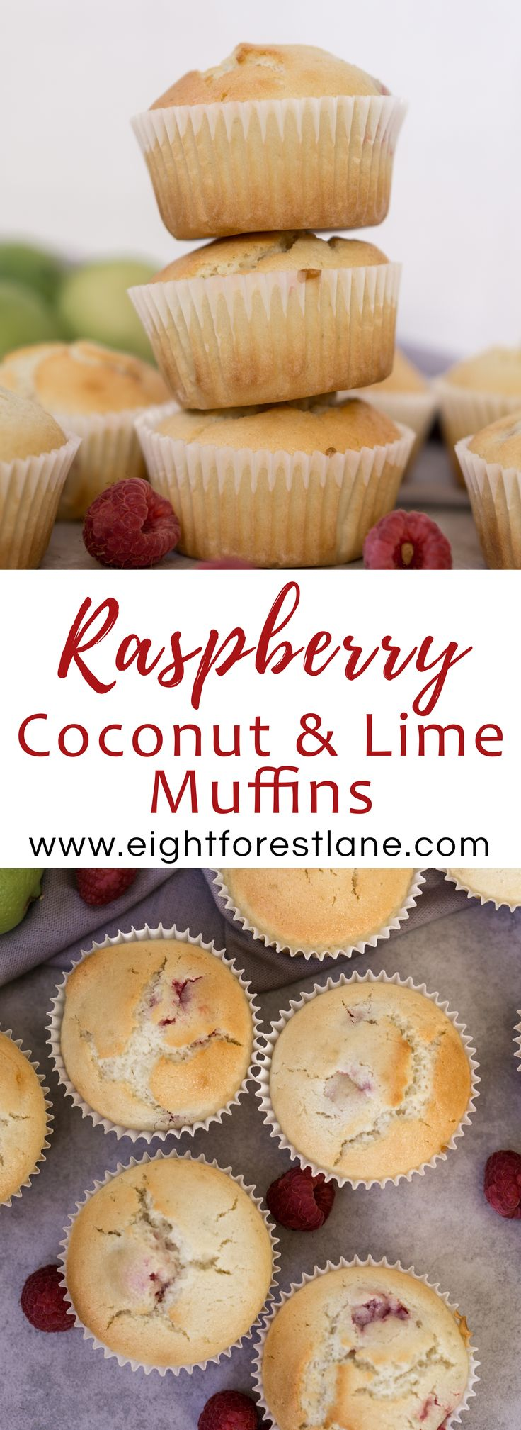 Raspberry, Coconut & Lime Muffins