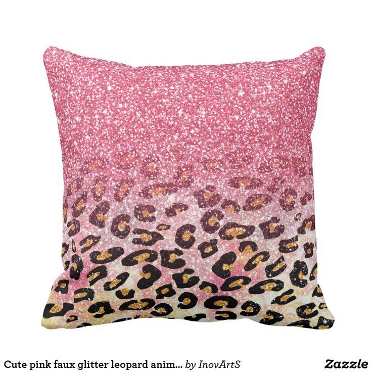 Cute Pink Faux Glitter Leopard Animal Print Throw Pillow Zazzle Com In 2019 Throw Pillows