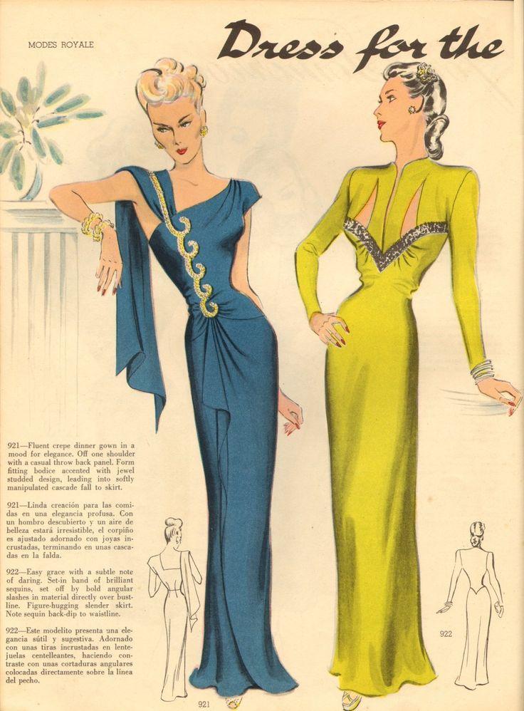 Alluringly beautiful 1940s evening dresses.