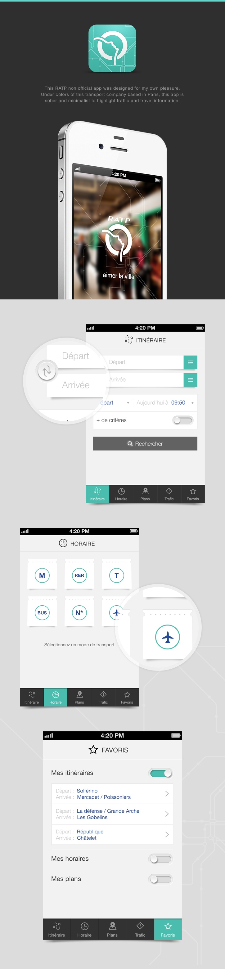 RATP iPhone App by Angelique Calmon, via Behance
