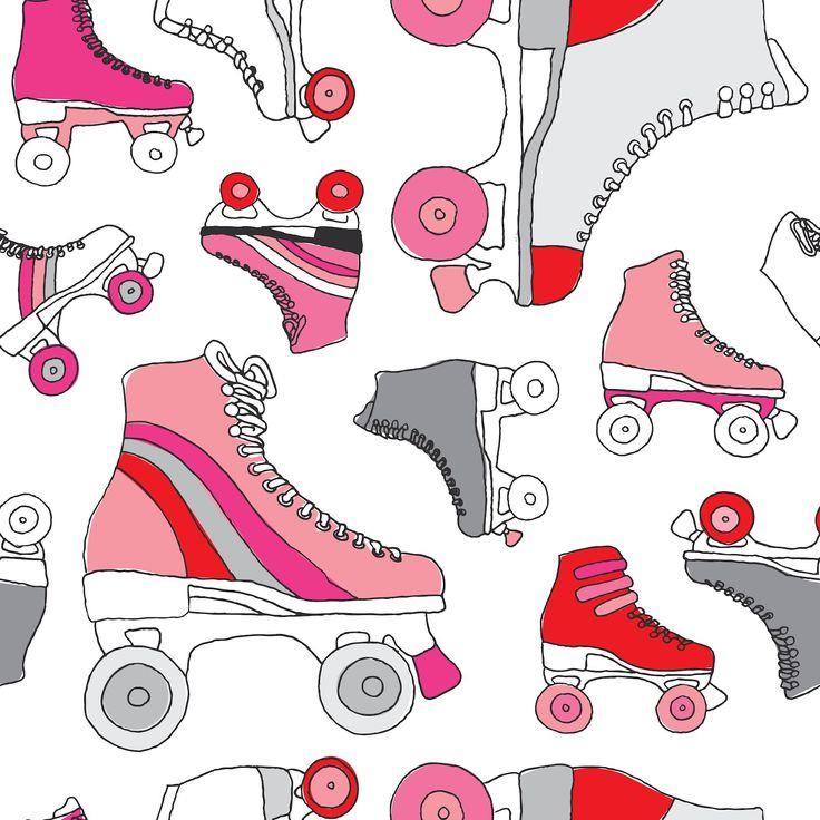 patin artistico de 4 ruedas fondo de pantalla | little smilemakers studio: > Retro derby roller skates pattern
