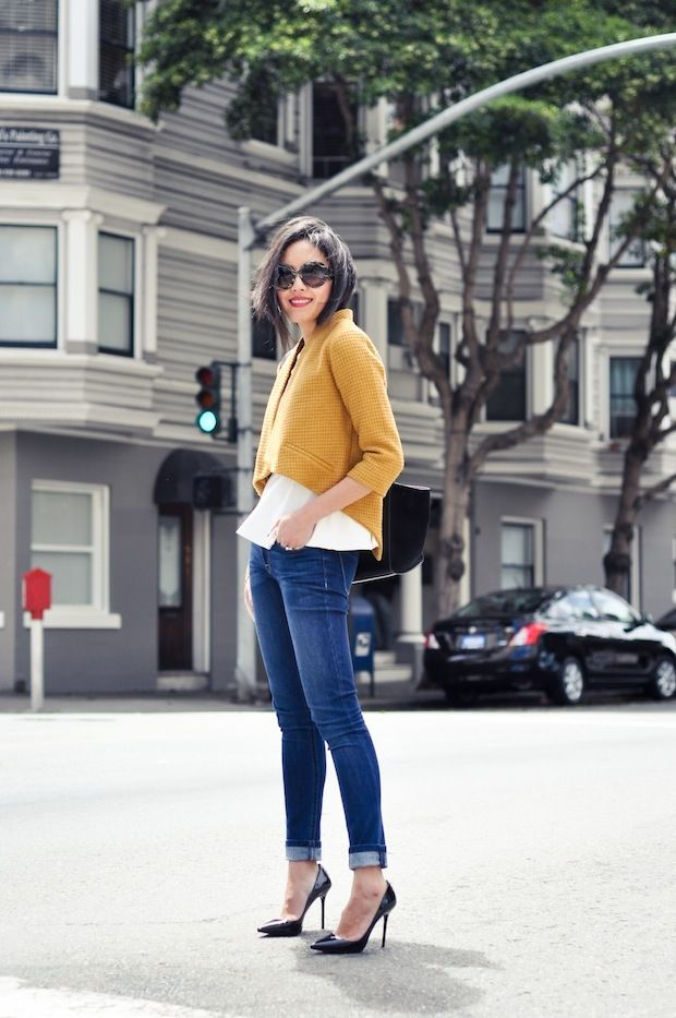 9to5Chic: Marigold: Fashion, Skinny Jeans, Color, Street Style, Outfit, Cropped Jackets, Mustard Jacket, Fall Winter, Mustard Yellow