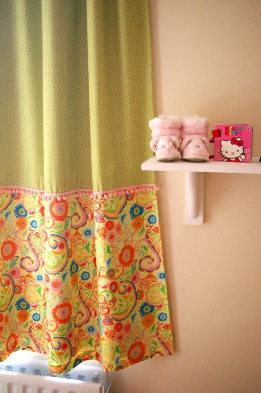 Nice idea to use two fabrics for the nursery curtains.  Nursery curtains by Bethany from Tokyo Textiles