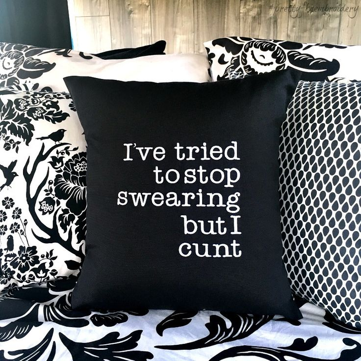 I've tried to stop swearing but I cunt // Black Canvas Cushion Cover // Choose Your Embroidery Colour - Pretty Fkn Embroidery