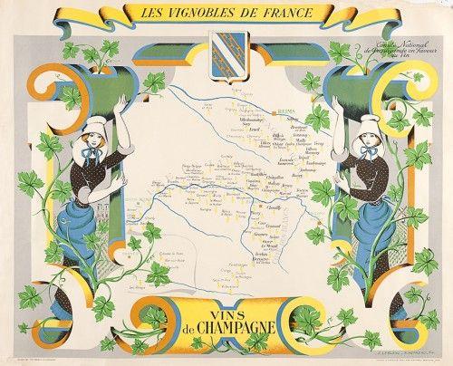 Vins de Champagne retro French wine poster.