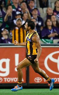 Cyril Rioli was at his electrifying best in Round 3, 2014. Hawks defeat Freemantle by 58 points.  Go Hawks.