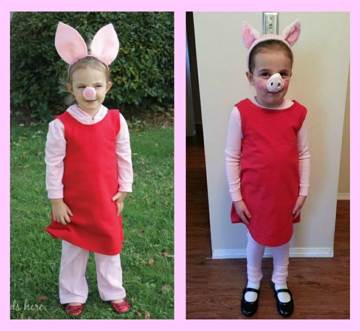 I collaborated with my MIL to create this costume for my daughter. Original Pin is on the left. My daughter is the child on the right. We all went as the Peppa Pig Family for Halloween 2013. <3 T