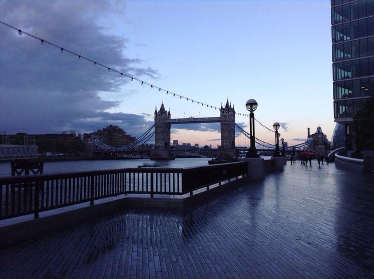 The London Tower Bridge at sunset.