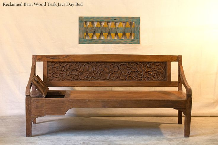 Hunt and Lane | a top shelf furniture company | Reclaimed Teak Barn Wood Javanese Day Bed | Beautiful Carving | Secret Compartment | Solid | Java Indonesia | tropical living | organic, sustainable furnishings and interiors for your home.
