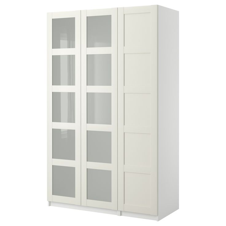 Ikea pax bergsbo frostglas  PAX Wardrobe with 3 doors - Bergsbo frosted glass/white, white, 58 ...