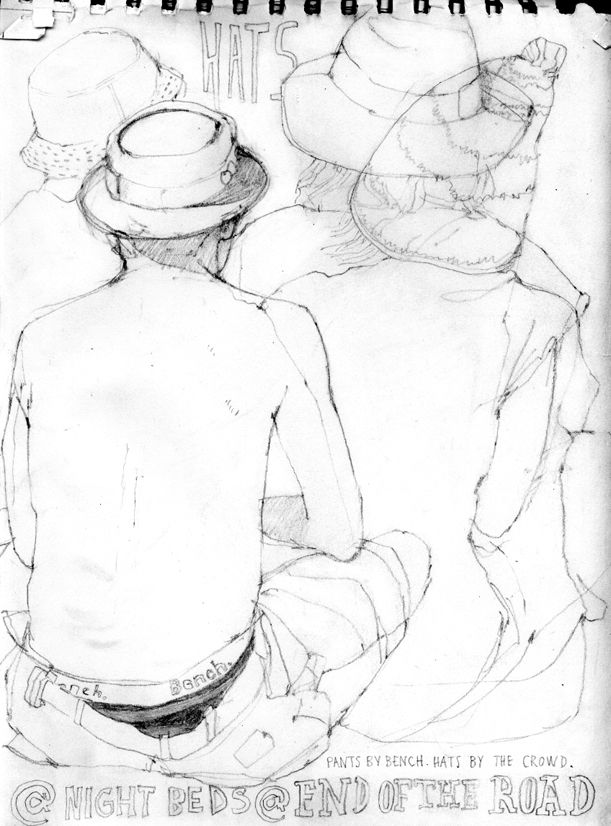 Pencil drawing at 'End of the Road' festival  by Helen Cann. Lots of outsize hats in hot weather.