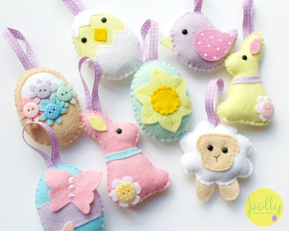 PDF instructions for felt Easter decoration set. Instructions for 8 decorations included. Digital Pattern. Instant Download