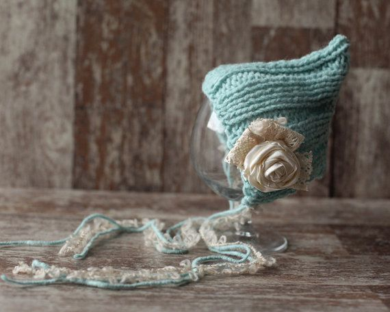 Newborn Hat, Baby Girl Bonnet, Vintage Hat knitted, Knit baby beanie,Flower Hat, Photo prop, Photography Hat on Etsy, $19.00