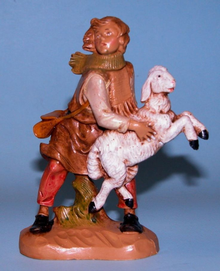 Fontanini Nativity figure, Aaron, shepherd, lamb, Christmas, NIB, 5 in series