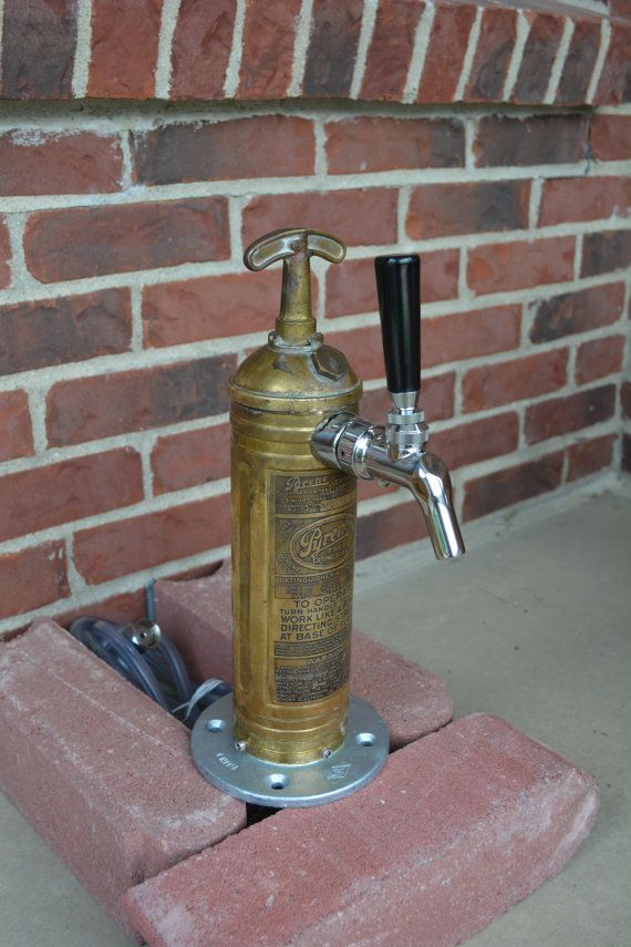 Draft Beer Tap Tower  Brass Fire Extinguisher by CabinFeverCraft, $249.00