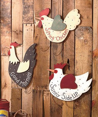 Set of 3 Country Kitchen Roosters